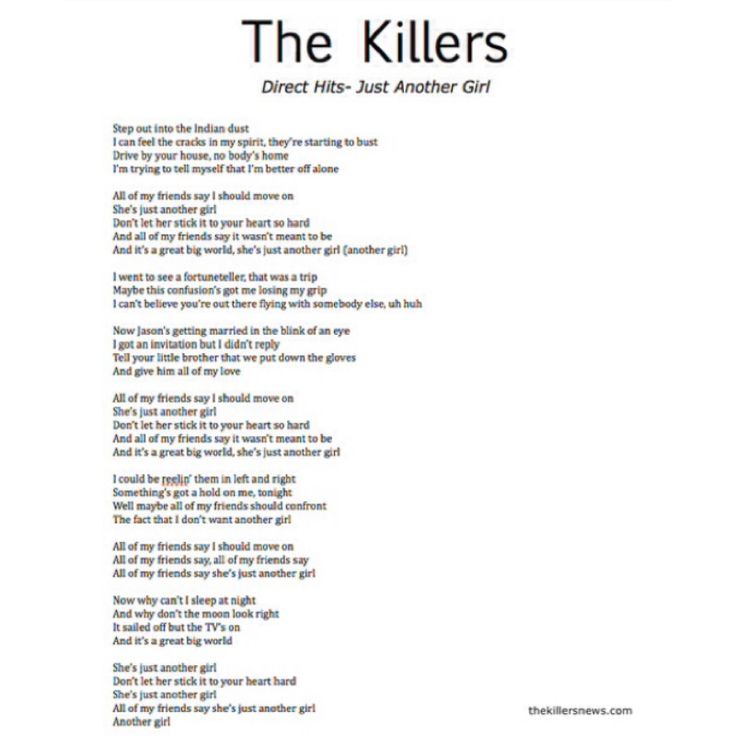 """Lyrics To The New Killers Song """"Just Another Girl"""