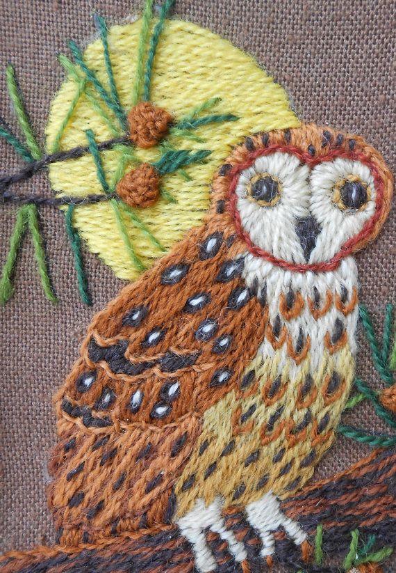 Framed Owl Needlework / Owl Crewel Work / Vintage by LindsaysList, $42.00