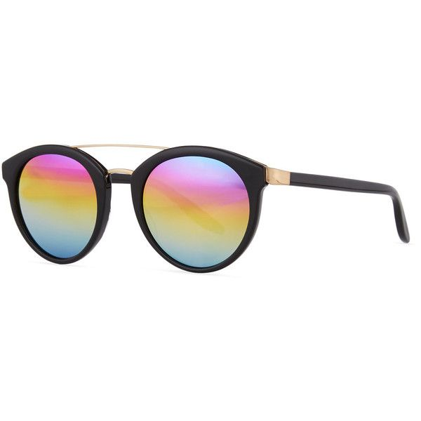 Barton Perreira Dalziel Round Iridescent Sunglasses ($585) ❤ liked on Polyvore featuring accessories, eyewear, sunglasses, mirror glasses, round lens glasses, round mirror sunglasses, round frame glasses and rainbow mirror sunglasses