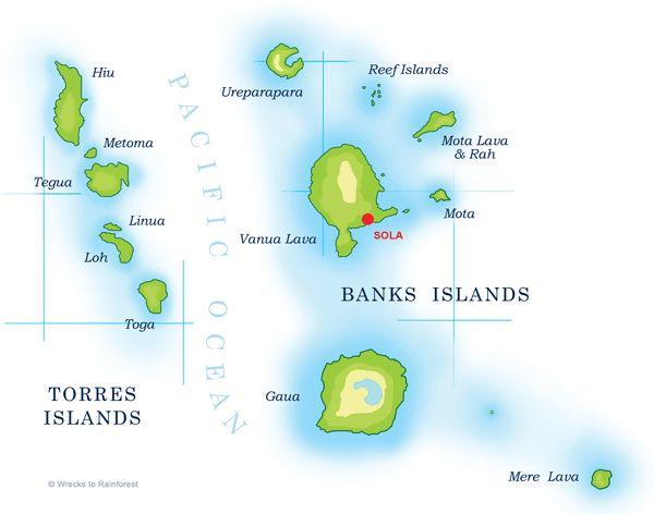 Map of  Banks & Torres Islands (Torba), Vanuatu