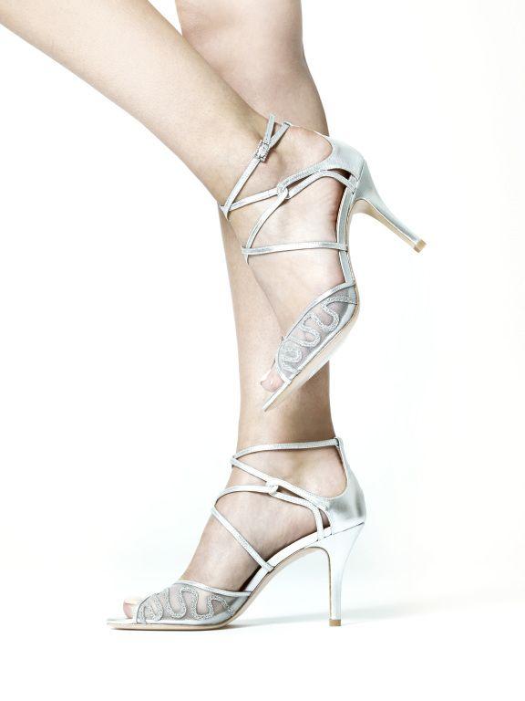 Benjamin Adams 'Bobbi' Silver Leather Designer Wedding Shoes - laceandfavour.com