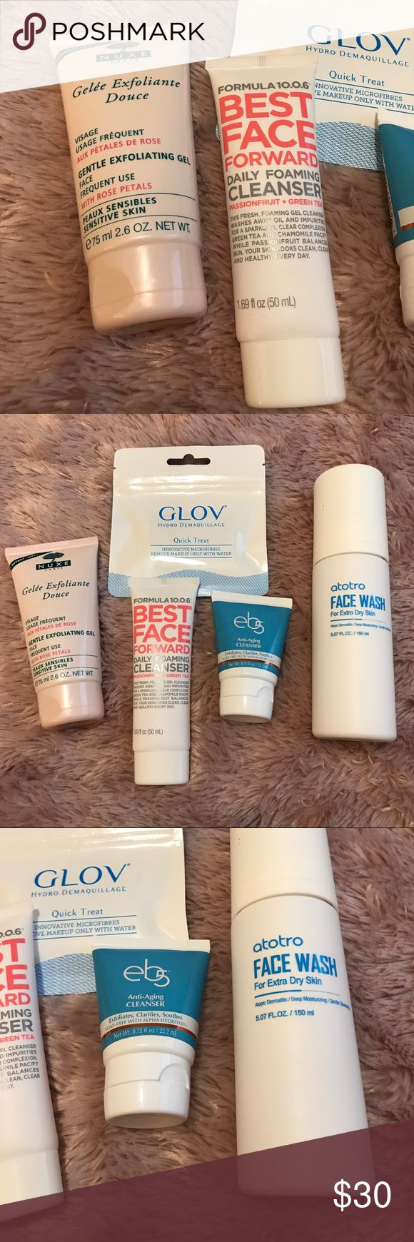 Face Wash Cleanser and Scrub Beauty Bundle Bundle includes 💙 Glov Quick Treatment Makeup Remover Microfiber Cloth 💙 Nuxe Gentle Exfoliating Gel 💙 Formula 10.0.6 Best Face Forward Daily Foaming Cleanser 💙 eb5 Anti-Aging Cleanser 💙 Atotro Korean Skincare Face Wash 💙 All products are like new. Only used the Nuxe a couple times and the atotro wash a few times. Cleaning out my stash. Fast shipping. Nuxe Other