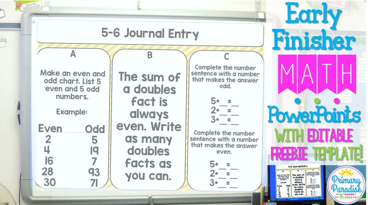 Early Finisher Math PowerPoints: Free Editable Template Included!  Once students start independent practice, I put up that day's journal entry, and when students finish, they take out their journals and get to work.    I break up the journal entries into 3 tasks-A, B, and C. The tasks start off easier and get more complex. We call them challenges, and my students always love being challenged!