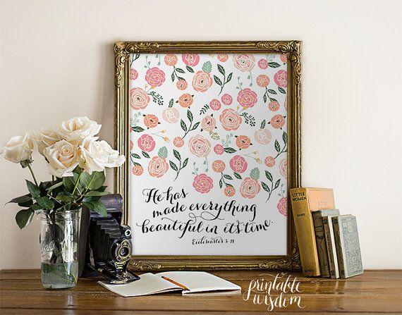 Bible verse art print printable wall decor by PrintableWisdom