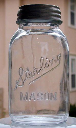 Scarce Sterling Mason Canning Fruit Jar Presto Metal Lid Vintage Old | eBay