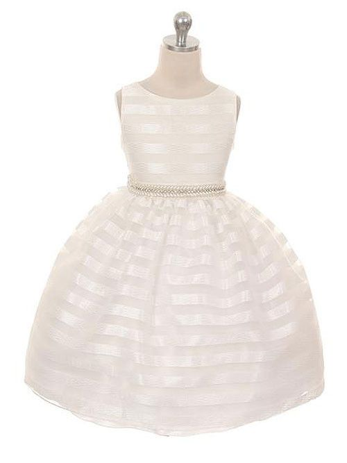 Ivory Organza Flower Girl Dress with Chenille Fabric Stripes