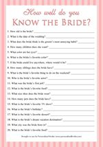 How Well Do You Know the Bride Printable Bridal Shower Game & Other Bridal Shower Games