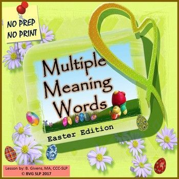 This is a comprehensive NO PREP, NO PRINT unit that addresses homonyms - multiple meaning words.  It also offers an introduction to using the context to aid in determining word meanings.  It includes forty slides of fun, engaging, full-color images that will allow students to demonstrate their ability to master differentiating between definitions for words with more than on meaning.