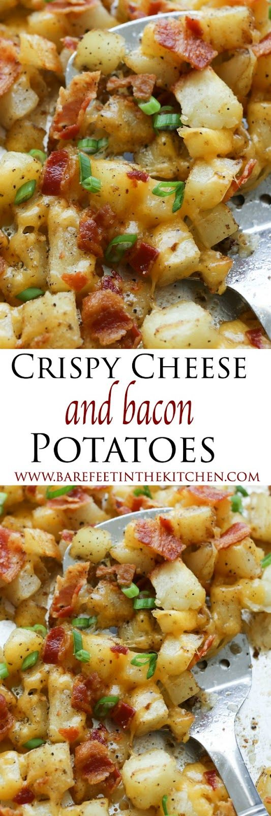 Crispy Cheese and Bacon Potatoes - Crispy roasted potatoes, topped with melting cheese and plenty of crisp bacon. The perfect side for breakfast or dinner!