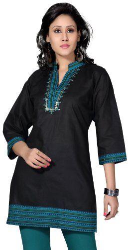 Indian Tunic Top Long Kurti Womens Black Cotton Blouse India Clothing - List price: $49.99 Price: $28.99 Saving: $21.00 (42%)