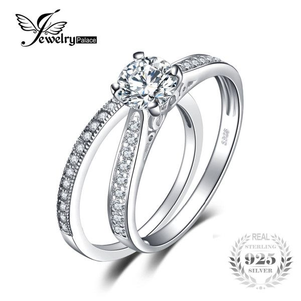 Silver Wedding Ring Sets For Her Engagement Rings Wedding Bands Set Round Engagement Rings Cubic Zirconia Wedding Bands