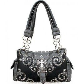 Black Western Rhinestone Buckle with Cross Conceal and Carry Purse In Stock: 69.99