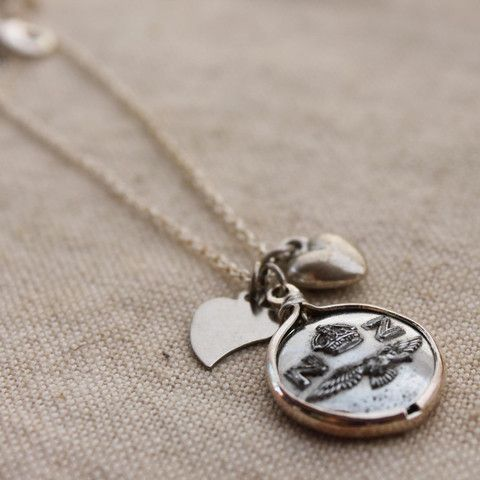 NZ Army Button Charm Necklace