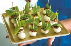 Simply skewer small mozzarella balls, sundried tomatoes and basil leaves onto cocktail sticks to make these quick and easy Woman's Weekly Pisa mozzarella canapes.Get the recipe: Pisa mozzarella