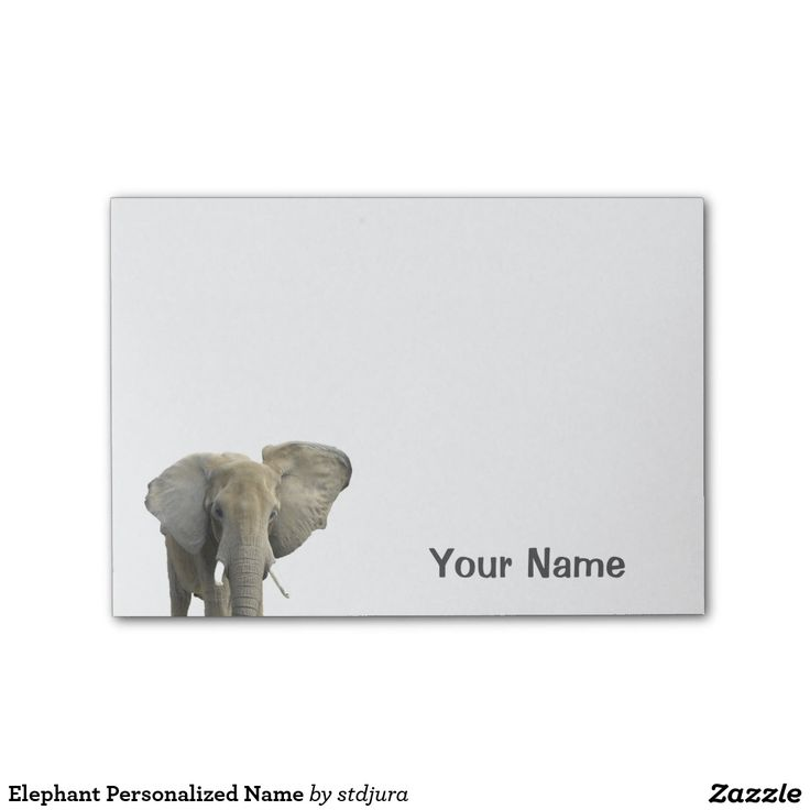 Elephant Personalized Name Post-it® Notes  #zazzle #notes #elephant #office