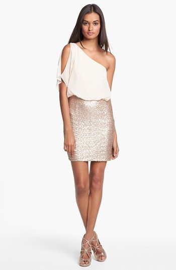 Aidan Mattox One Shoulder Mixed Media Dress available at #Nordstrom