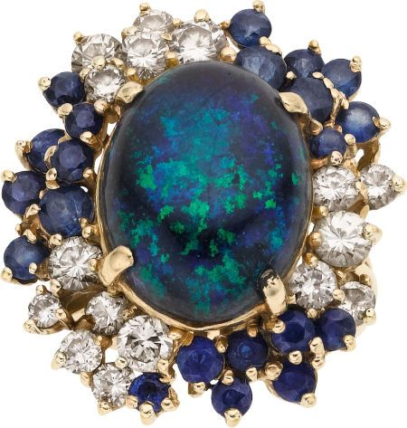 Black Opal, Sapphire, Diamond, Gold Ring. ... Estate JewelryRings | Lot #58454 | Heritage Auctions