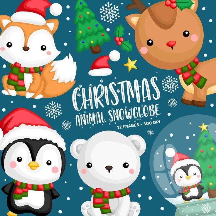 Cute Animal In Winter Clipart Winter Animal Clip Art Snow Etsy In 2021 Winter Clipart Winter Animals Clip Art