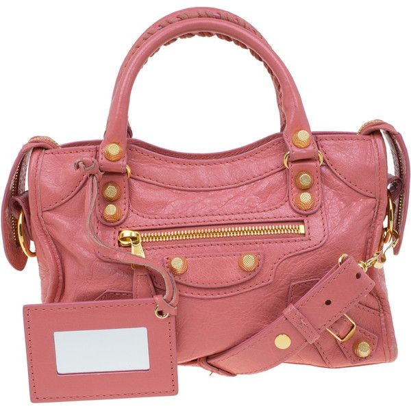 Balenciaga Pink Leather Mini City Gold Hardware Bag ❤ liked on Polyvore featuring bags, handbags, balenciaga purse, red leather handbags, mini purse, mini city bag and pink purse