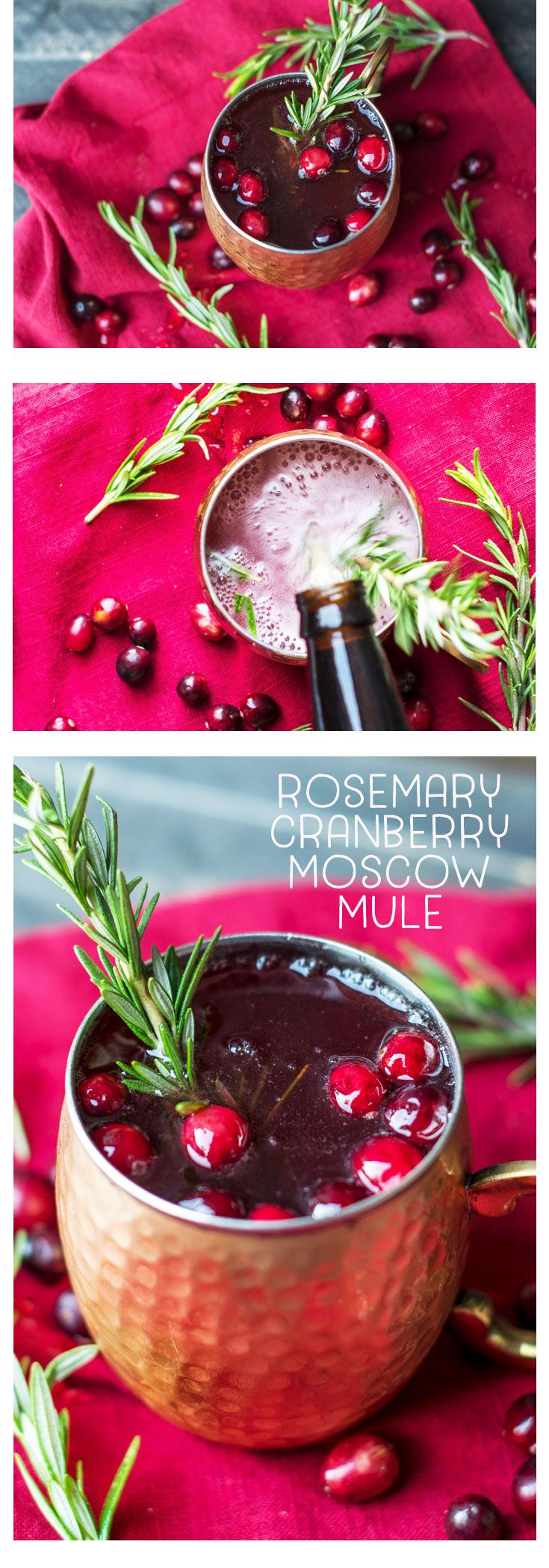 Looking for a holiday drink recipe? Try this refreshing, unique, and festive Rosemary and Cranberry Moscow Mule that features tastes of the holiday season! #cranberry #moscowmule #holidaydrink #drinkrecipe #Christmascocktail #cocktailrecipe #rosemary via @MrsMajorHoff
