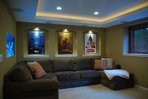 Small home theater contemporary media room for Small room movie theater