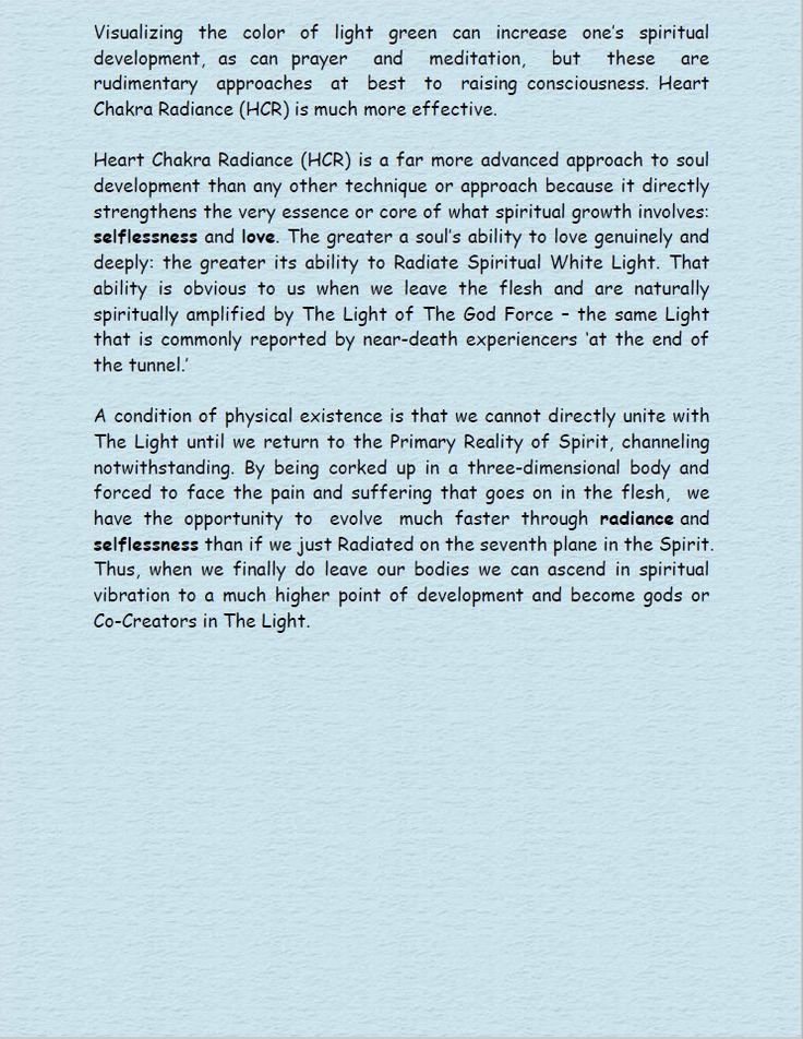 The advanced approach to soul development.  Heart Chakra Radiance Page 4.
