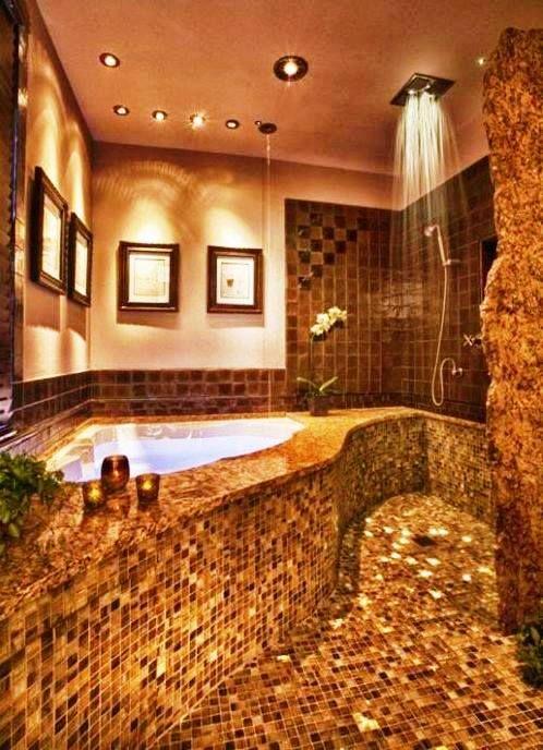 //Rain Shower + Jacuzzi Bathtub =Dream Bathroom//