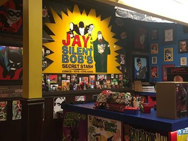 A counterspace at Jay and Silent Bob's Secret Stash comic book & novelty store in Red Bank, New Jersey. This is the setting for the AMC series Comic Book Men, featuring Secret Stash owner and filmmaker Kevin Smith and several of his lifelong friends and co-stars, notably Stash manager Walt Flanagan. Photo by my girlfriend Stephanie.