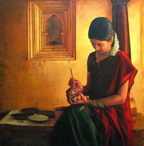 Beautiful lifelike paintings of Dravidian women involved in different household activities by Elayaraja. These paintings were inspired by real life characters as Elayaraja first photographed them before depicting them on canvas.
