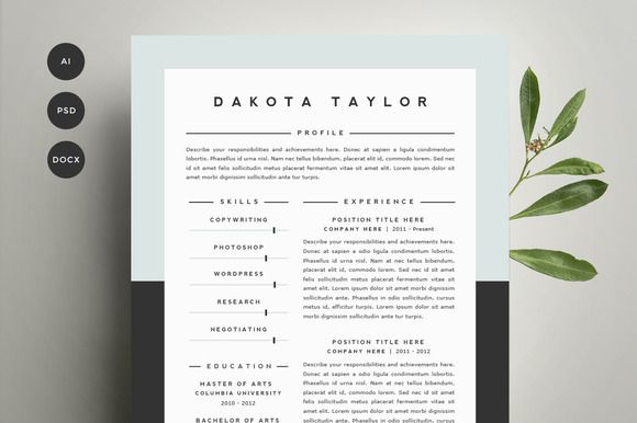 Resume Template 4 Pack | CV Template by Refinery Resume Co. on @graphicsmag