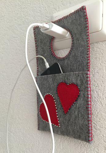 Ladestation Herz selbst gemacht, DIY zum Handy laden.
