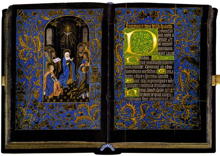 """Black Hours,"" for Rome use. Belgium, Bruges, c. 1470 (MS M.493 The Black Hours, one of a very few manuscripts on vellum that is dyed black.  More about The Black Hours here http://www.themorgan.org/collections/works/BlackHours/default.asp"