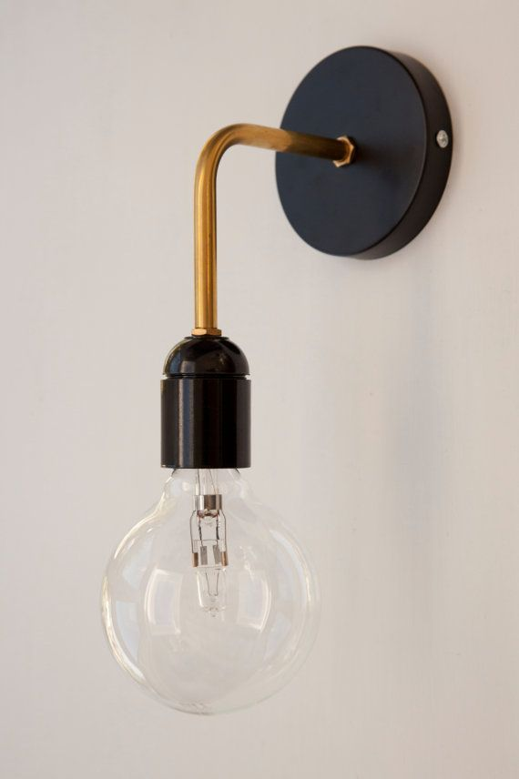 Brass Wall Sconce With Black Bakelite Lamp Holder Bakelite