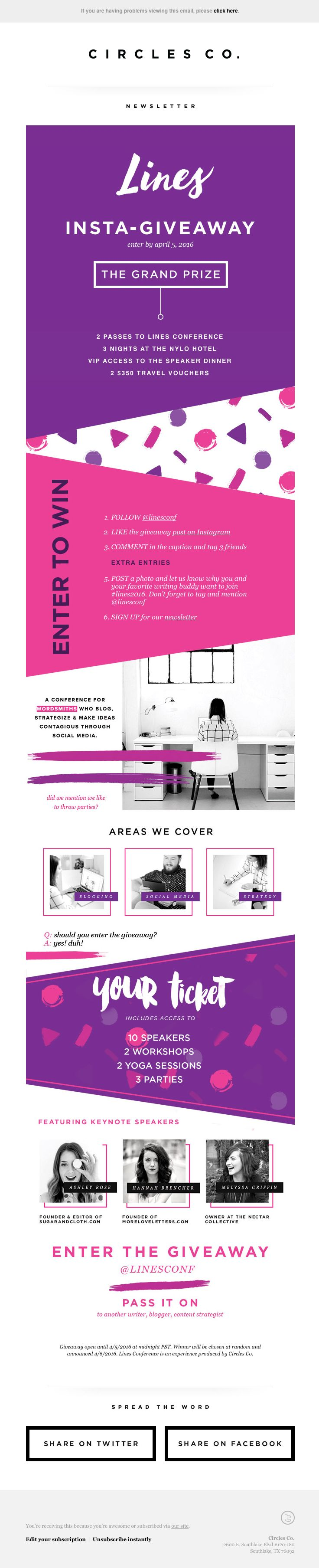 Newsletter Design by Lindsey Eryn Clark of Third Story Apartment for Lines Conference and Circles Co.