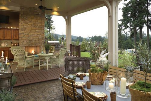 House Plans With Outdoor Living Spaces | The House Designers BlogCovers Patios, Dining Area, Outdoor Living Room,  Terraces, Outdoor Living Spaces, Outdoor Room, Traditional Porches, French Country Design, House Plans
