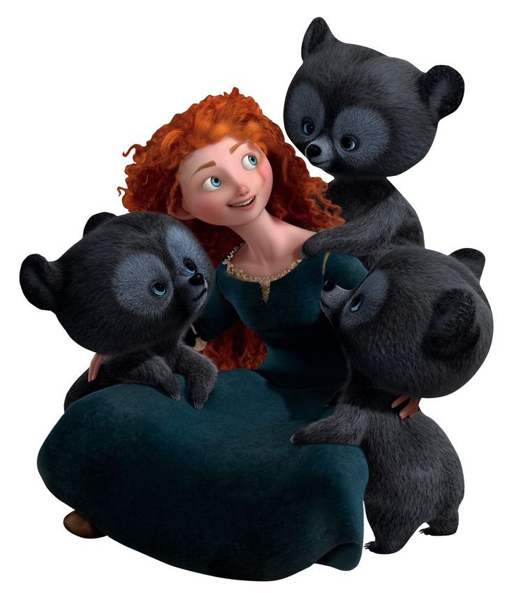 Merida and her triplet brothers as bear cubs