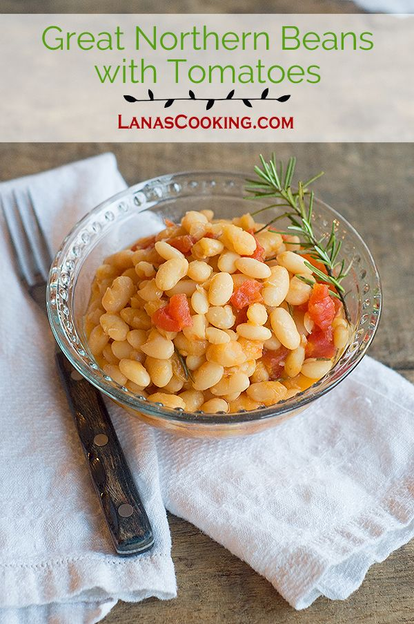 Great Northern Beans with Tomatoes is a delicious and budget-friendly side or main dish.  From @NevrEnoughThyme http://www.lanascooking.com/great-northern-beans-tomatoes