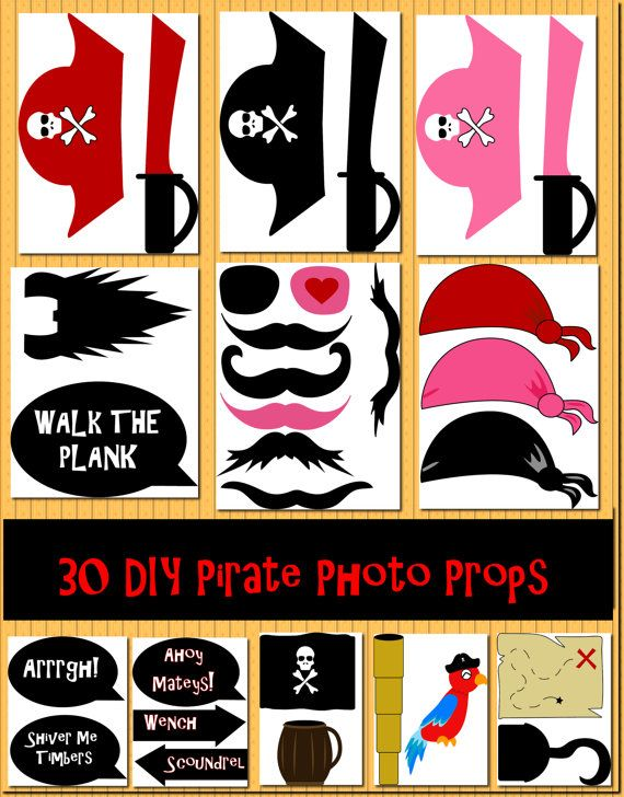 Instant Download DIY 30 Pirate Photo Booth by DigitalConfectionery, $3.99  Great for kids birthday