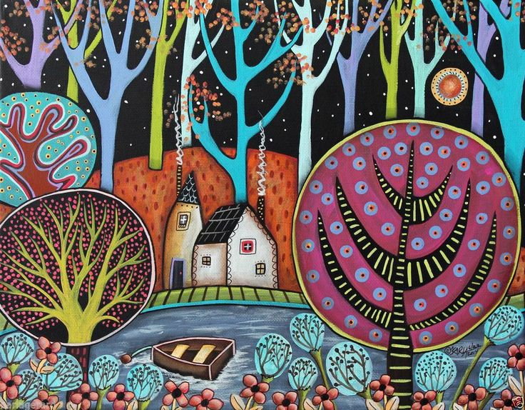 Cozy Cottages 14x11 Lake ORIGINAL Canvas PAINTING Abstract FOLK ART PRIM Karla G...new painting, ready to hang, for sale now...