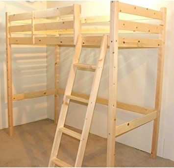Loft Bunk Bed - 2ft 6 small single wooden high sleeper bunkbed - Ladder can go left or right - CAN BE USED BY ADULTS
