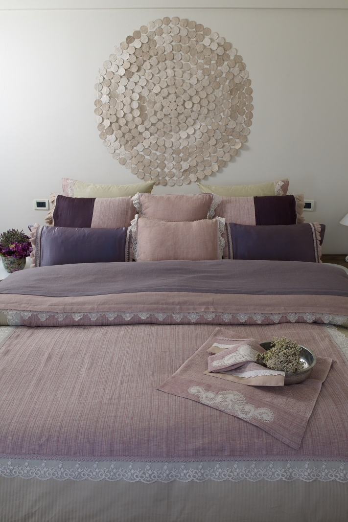 Hand made lace linen bedding set #lace #bedding #linen