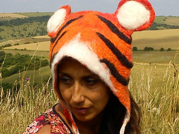 Tiger Festival Costume Hat hand felted cosplay by KarenRao on Etsy, £38.00