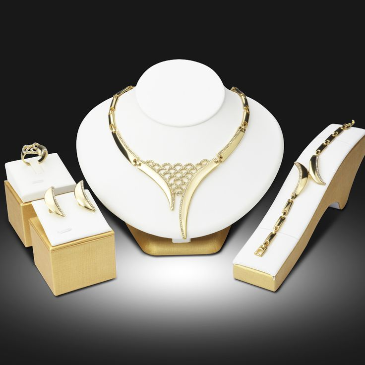 Dubai Gold Plated Jewelry Sets Nigerian Wedding African Beads Crystal Hollow Bridal Jewellery Set Rhinestone Ethiopian Jewelry