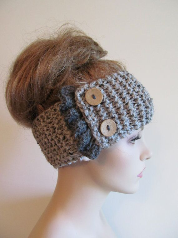Grey Knit Headbands Earwarmers Turban Buttons Chunky by Lacywork