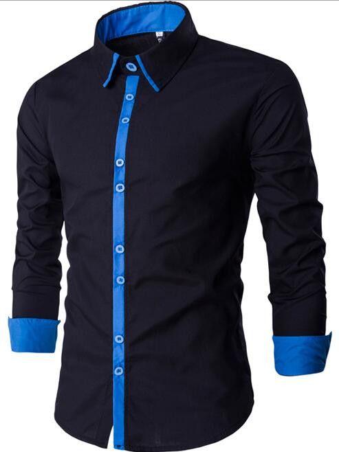 Men's Dress Slim Fit Long Sleeve Collar Shirt