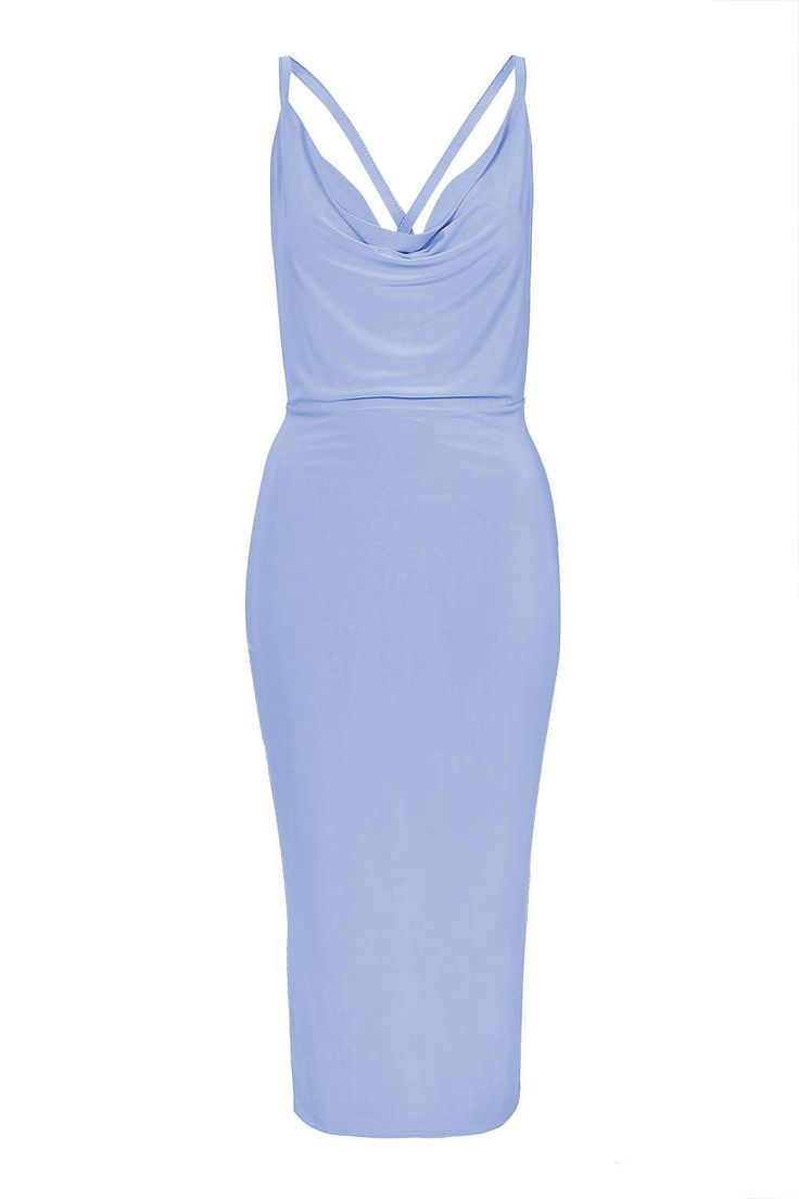 Womens powder blue cowl neck cross back slinky dress by rare from Topshop - £35 at ClothingByColour.com