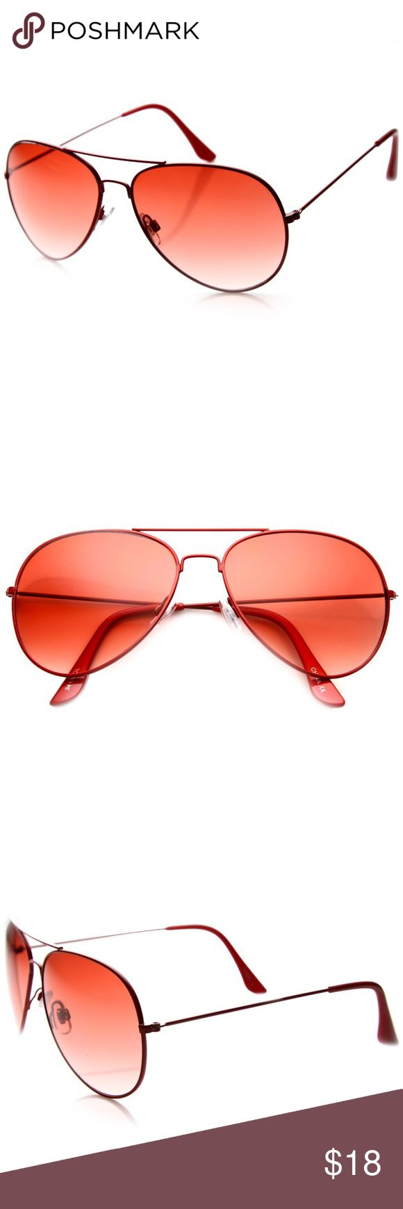 Classic Strawberry Red Aviators SUNNIES NWT Classic metal teardrop aviator with eye catching colored frames. Made with spring loaded hinges, English style nose pieces and revo color. Produced with optical hinges, 100% UV400 protection lenses and polycarbonate frame.   Lens Width: 52mm Nose Bridge: 22mm Lens Height: 52mm Total Width: 140mm SolSkin Accessories Sunglasses
