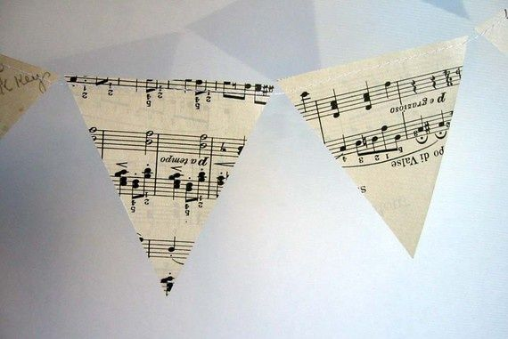 Simple paper decorations with sheet music   Paper Banner Vintage Sheet Music Decoration Mini by ...   Musical Art ...