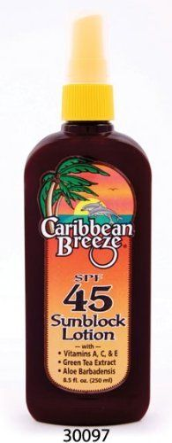 Caribbean Breeze-SPF 45 SunScreen Spray Lotion, 8.5 oz (250 ml) by Caribbean Breeze. $13.09. Water Resistant. Vitamin Enriched. Natural Botanical Extract. WARNINGS: For external use only.  Discontinue use if signs of irritation or rash appear.  If irritation or rash persists, consult a physician. Keep Out Of Reach Of Children. Do not swallow. If swallowed, get medical help or contact a Poison Control Center immediately.  Avoid contact with eyes. If contact occurs...