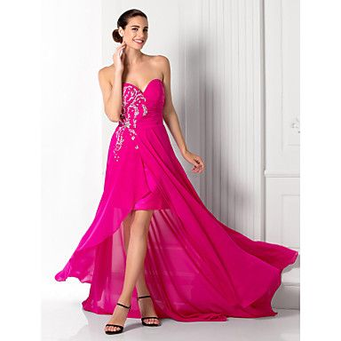 Free Measurements ! A-line Sweetheart Court Train Chiffon Evening Dress (984198) – USD $ 99.99
